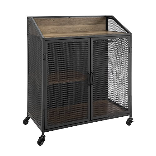 Walker Edison Furniture Company Industrial Wood And Metal Bar Cabinet With Wheels Wine Glass And Bottle Kitchen Storage Shelf 33 Inch Reclaimed Barnwood 0 4