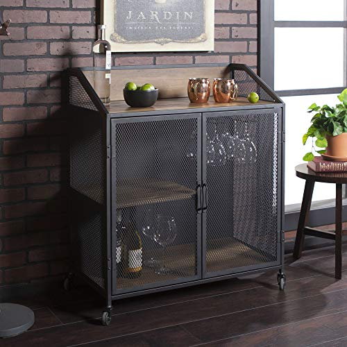 Walker Edison Furniture Company Industrial Wood And Metal Bar Cabinet With Wheels Wine Glass And Bottle Kitchen Storage Shelf 33 Inch Reclaimed Barnwood 0