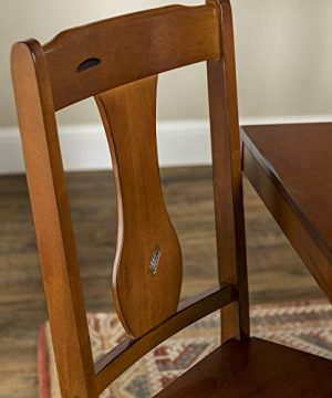 Walker Edison Rustic Farmhouse Wood Distressed Dining Room Chairs KitchenArmless Dining Chairs Kitchen Brown Oak Set Of 2 0 0 300x360