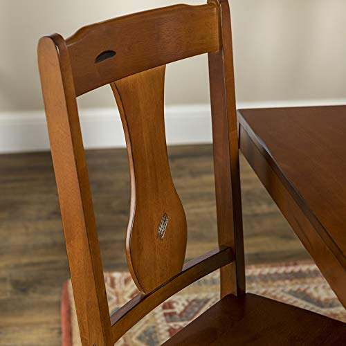 Walker Edison Rustic Farmhouse Wood Distressed Dining Room Chairs KitchenArmless Dining Chairs Kitchen Brown Oak Set Of 2 0 0