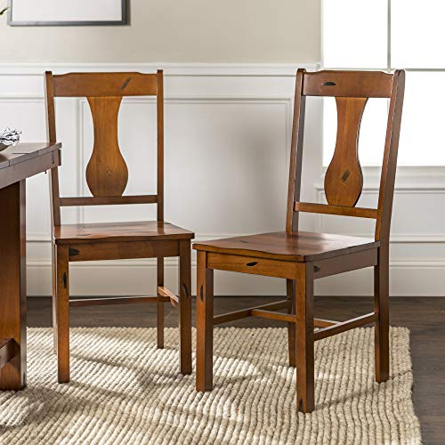 Walker Edison Rustic Farmhouse Wood Distressed Dining Room Chairs KitchenArmless Dining Chairs Kitchen Brown Oak Set Of 2 0