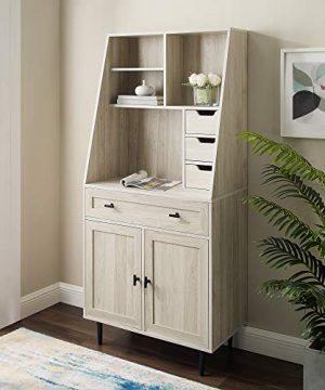 Walker Edison Secretary Hutch Wood Desk With Keyboard Drawer Bookshelf Home Office Storage Cabinet 64 Inch Birch 0 300x360