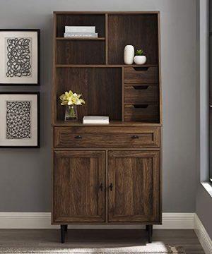 Walker Edison Secretary Hutch Wood Desk With Keyboard Drawer Bookshelf Home Office Storage Cabinet 64 Inch Dark Walnut Brown 0 0 300x360