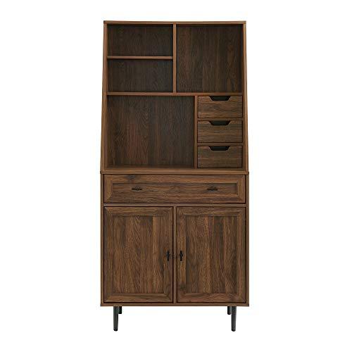 Walker Edison Secretary Hutch Wood Desk With Keyboard Drawer Bookshelf Home Office Storage Cabinet 64 Inch Dark Walnut Brown 0 2