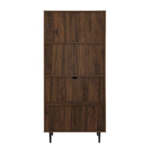 Walker Edison Secretary Hutch Wood Desk With Keyboard Drawer Bookshelf Home Office Storage Cabinet 64 Inch Dark Walnut Brown 0 3