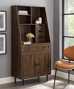 Walker Edison Secretary Hutch Wood Desk With Keyboard Drawer Bookshelf Home Office Storage Cabinet 64 Inch Dark Walnut Brown 0 300x360