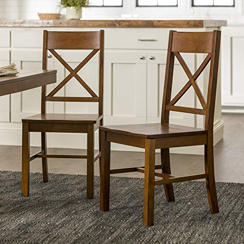 Walker Edison Solid Wood Farmhouse Dining Chairs X Back Armless Kitchen Chairs Set Of 2 Brown 0