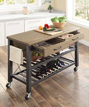 Whalen Santa Fe Kitchen Cart With Metal Shelves And TV Stand Feature 0 1 300x360