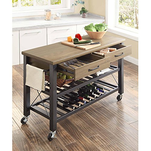 Whalen Santa Fe Kitchen Cart With Metal Shelves And TV Stand Feature 0 1