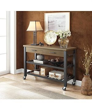 Whalen Santa Fe Kitchen Cart With Metal Shelves And TV Stand Feature 0 2 300x360