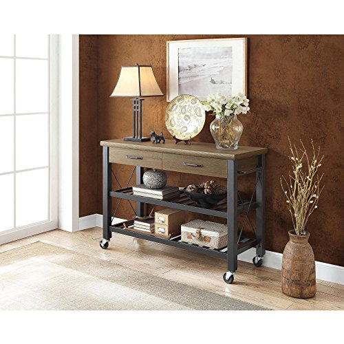 Whalen Santa Fe Kitchen Cart With Metal Shelves And TV Stand Feature 0 2