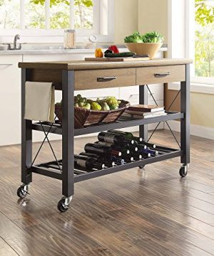 Whalen Santa Fe Kitchen Cart With Metal Shelves And TV Stand Feature 0 300x360