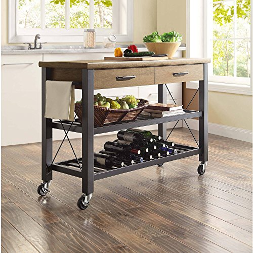 Whalen Santa Fe Kitchen Cart With Metal Shelves And TV Stand Feature 0