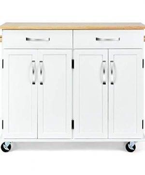 White Kitchen Trolley Island Wooden Rolling Storage Cabinet Utility Shelf Cart Rectangle Wood Surface With Ebook 0 300x360