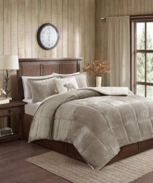 Woolrich Alton Ultra Soft Plush To Sherpa Berber Down Alternative Cold Weather Winter Warm Comforter Set Bedding FullQueen TaupeIvory 0 300x360