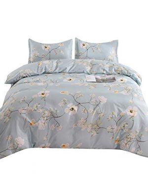 YMY Lightweight Microfiber Bedding Duvet Cover Set Chic Floral Pattern Light Blue Twin 0 300x360