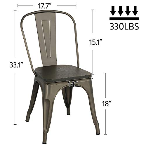 Yaheetech Metal Dining Chairs With Wood SeatTop Stackable Side Chairs Kitchen Chairs With Back Indoor Outdoor ClassicChicIndustrialVintage Bistro Caf Trattoria Kitchen Gun Metal Set Of 4 0 0