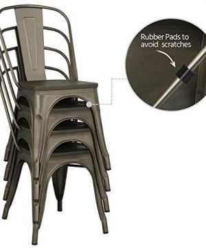 Yaheetech Metal Dining Chairs With Wood SeatTop Stackable Side Chairs Kitchen Chairs With Back Indoor Outdoor ClassicChicIndustrialVintage Bistro Caf Trattoria Kitchen Gun Metal Set Of 4 0 4 300x360