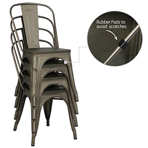 Yaheetech Metal Dining Chairs With Wood SeatTop Stackable Side Chairs Kitchen Chairs With Back Indoor Outdoor ClassicChicIndustrialVintage Bistro Caf Trattoria Kitchen Gun Metal Set Of 4 0 4