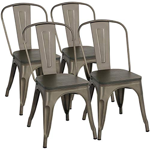 Yaheetech Metal Dining Chairs With Wood SeatTop Stackable Side Chairs Kitchen Chairs With Back Indoor Outdoor ClassicChicIndustrialVintage Bistro Caf Trattoria Kitchen Gun Metal Set Of 4 0