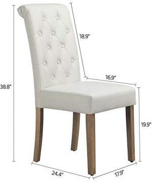 Yaheetech Solid Wood Dining Chairs Button Tufted Parsons Diner Chair Upholstered Fabric Dining Room Chairs Kitchen Chairs Set Of 2 Beige 0 0 300x360
