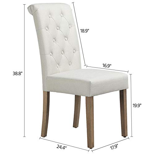Yaheetech Solid Wood Dining Chairs Button Tufted Parsons Diner Chair Upholstered Fabric Dining Room Chairs Kitchen Chairs Set Of 2 Beige 0 0