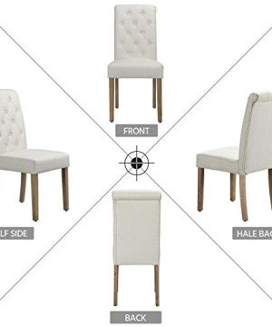 Yaheetech Solid Wood Dining Chairs Button Tufted Parsons Diner Chair Upholstered Fabric Dining Room Chairs Kitchen Chairs Set Of 2 Beige 0 1 300x360