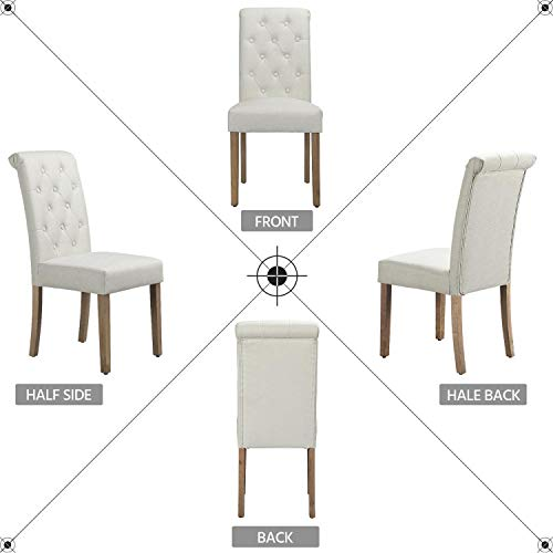 Yaheetech Solid Wood Dining Chairs Button Tufted Parsons Diner Chair Upholstered Fabric Dining Room Chairs Kitchen Chairs Set Of 2 Beige 0 1