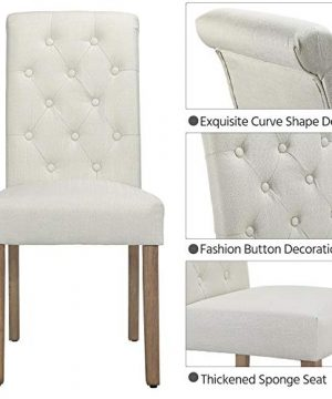 Yaheetech Solid Wood Dining Chairs Button Tufted Parsons Diner Chair Upholstered Fabric Dining Room Chairs Kitchen Chairs Set Of 2 Beige 0 2 300x360
