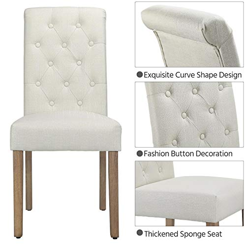 Yaheetech Solid Wood Dining Chairs Button Tufted Parsons Diner Chair Upholstered Fabric Dining Room Chairs Kitchen Chairs Set Of 2 Beige 0 2