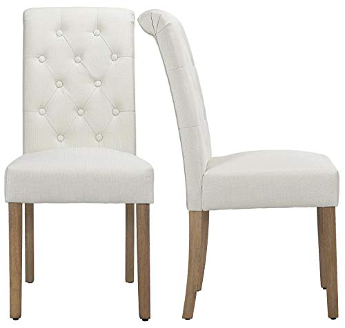 Yaheetech Solid Wood Dining Chairs Button Tufted Parsons Diner Chair Upholstered Fabric Dining Room Chairs Kitchen Chairs Set Of 2 Beige 0