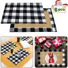 Yodofol Set Of 6 Buffalo Check Placemats Christmas Classic Cotton Burlap Black And White Plaid Washable Table Mats For Holiday Kitchen Dinner Table Decorations Black And White 0 100x100