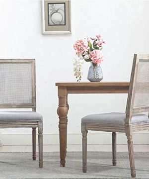 ZHENGHAO French Country Rectangle Cane Back Dining Chairs Set Of 2 Farmhouse Retro Kitchen Chairs Distressed Wood ChairsCream 0 0 300x360
