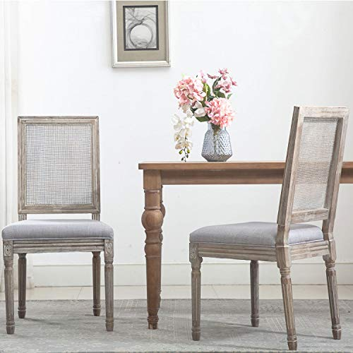 ZHENGHAO French Country Rectangle Cane Back Dining Chairs Set Of 2 Farmhouse Retro Kitchen Chairs Distressed Wood ChairsCream 0 0