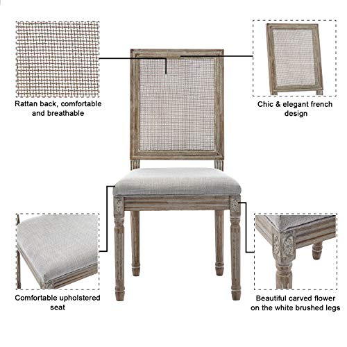 ZHENGHAO French Country Rectangle Cane Back Dining Chairs Set Of 2 Farmhouse Retro Kitchen Chairs Distressed Wood ChairsCream 0 1