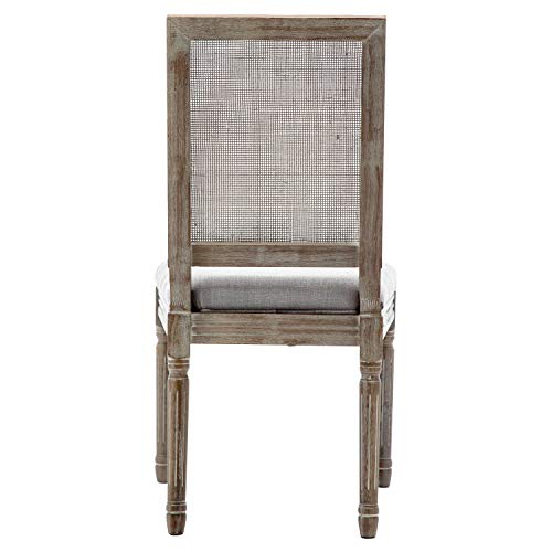 ZHENGHAO French Country Rectangle Cane Back Dining Chairs Set Of 2 Farmhouse Retro Kitchen Chairs Distressed Wood ChairsCream 0 2