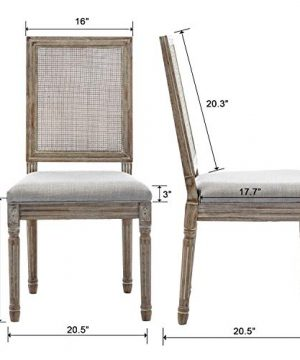 ZHENGHAO French Country Rectangle Cane Back Dining Chairs Set Of 2 Farmhouse Retro Kitchen Chairs Distressed Wood ChairsCream 0 4 300x360