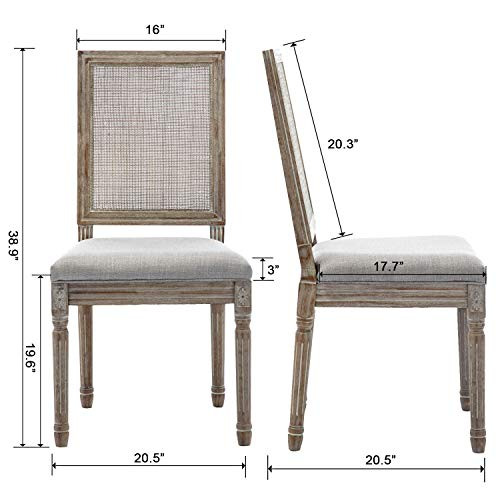 ZHENGHAO French Country Rectangle Cane Back Dining Chairs Set Of 2 Farmhouse Retro Kitchen Chairs Distressed Wood ChairsCream 0 4