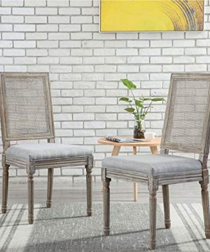 ZHENGHAO French Country Rectangle Cane Back Dining Chairs Set Of 2 Farmhouse Retro Kitchen Chairs Distressed Wood ChairsCream 0 5 300x360