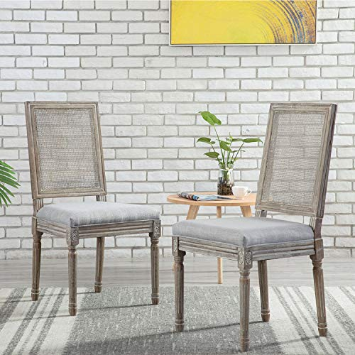ZHENGHAO French Country Rectangle Cane Back Dining Chairs Set Of 2 Farmhouse Retro Kitchen Chairs Distressed Wood ChairsCream 0 5