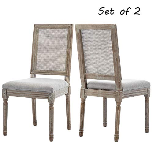 ZHENGHAO French Country Rectangle Cane Back Dining Chairs Set Of 2 Farmhouse Retro Kitchen Chairs Distressed Wood ChairsCream 0
