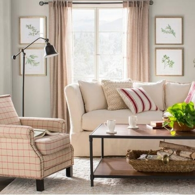 farmhouse themed living room 13