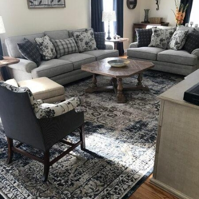 farmhouse themed living room 15