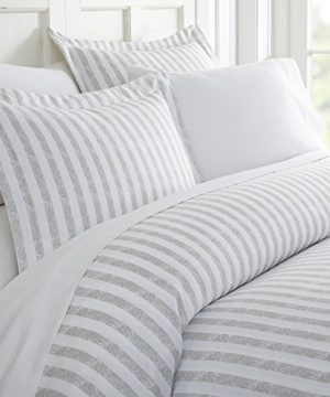 Ienjoy Home 3 Piece Rugged Stripes Patterned Home Collection Premium Ultra Soft Duvet Cover Set Twin Light Gray 0 300x360
