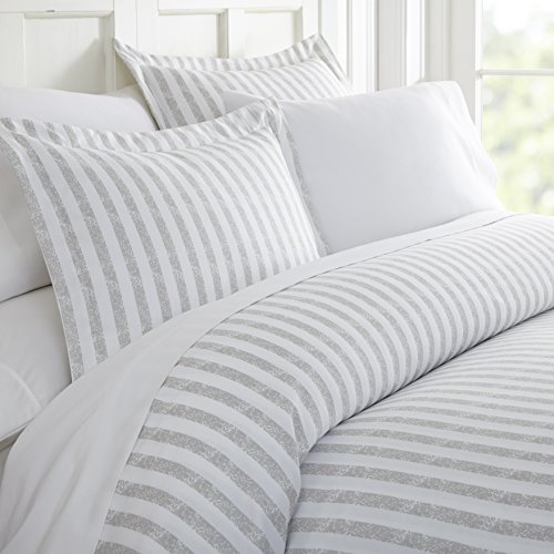 Ienjoy Home 3 Piece Rugged Stripes Patterned Home Collection Premium Ultra Soft Duvet Cover Set Twin Light Gray 0
