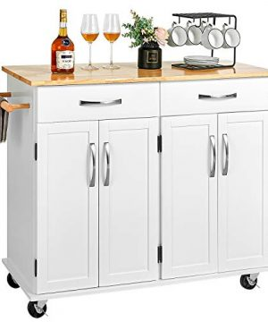 Kealive Kitchen Island On Wheels Rolling Kitchen Island Cart With Storage Handle Rack Rubber Wood Top Cabinet White 482L X 185W X 354H 0 300x360