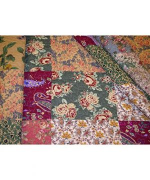 3 Piece Oversized King Bedspread Quilt Set To The Floor French Country Patchwork Pattern Floral Paisley Prints Red Coral Moss Sage Green Mustard Yellow Golden Tan Navy Blue Beautiful Colors 0 0 300x360
