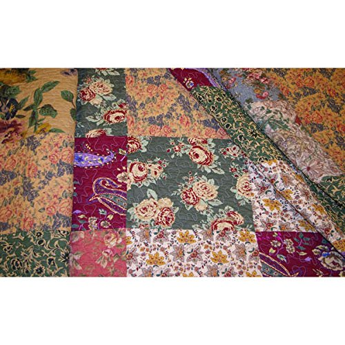 3 Piece Oversized King Bedspread Quilt Set To The Floor French Country Patchwork Pattern Floral Paisley Prints Red Coral Moss Sage Green Mustard Yellow Golden Tan Navy Blue Beautiful Colors 0 0