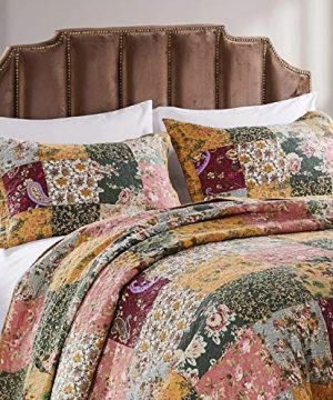 3 Piece Oversized King Bedspread Quilt Set To The Floor French Country Patchwork Pattern Floral Paisley Prints Red Coral Moss Sage Green Mustard Yellow Golden Tan Navy Blue Beautiful Colors 0 1 300x360