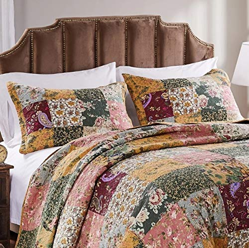 3 Piece Oversized King Bedspread Quilt Set To The Floor French Country Patchwork Pattern Floral Paisley Prints Red Coral Moss Sage Green Mustard Yellow Golden Tan Navy Blue Beautiful Colors 0 1